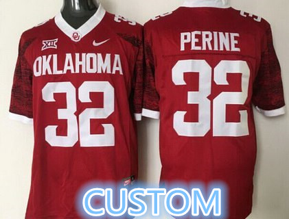 Men's Custom Oklahoma Sooners Red 2016 College Football Nike Limited Jersey
