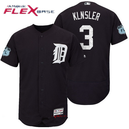 Men's Detroit Tigers #3 Ian Klnsler Navy Blue 2017 Spring Training Stitched MLB Majestic Flex Base Jersey
