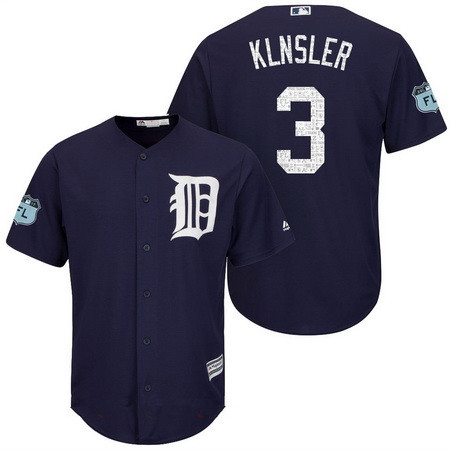 Men's Detroit Tigers #3 Ian Klnsler Navy Blue 2017 Spring Training Stitched MLB Majestic Cool Base Jersey
