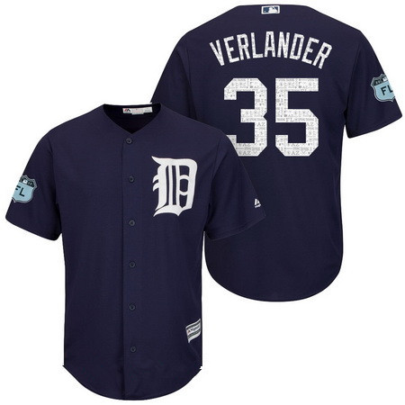 Men's Detroit Tigers #35 Justin Verlander Navy Blue 2017 Spring Training Stitched MLB Majestic Cool Base Jersey