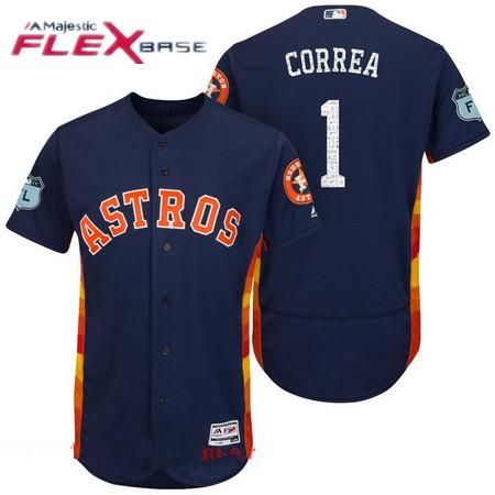 584b80216 Men s Houston Astros  1 Carlos Correa Navy Blue 2017 Spring Training  Stitched MLB Majestic Flex