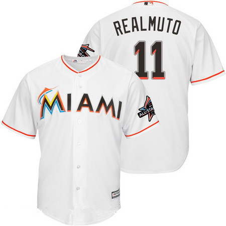 0e1339f74 Men s Miami Marlins  11 J.T. Realmuto White Home 2017 All-Star Patch Stitched  MLB