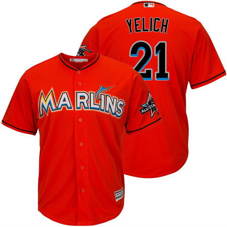 1f064fb83ae ... Mens Miami Marlins 21 Christian Yelich Orange 2017 All-Star Patch  Stitched MLB Majestic ...