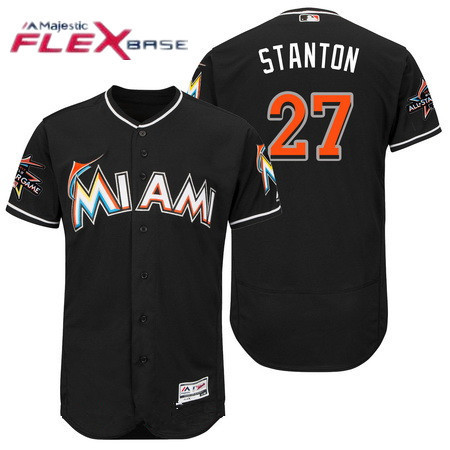 cab330187 Men s Miami Marlins  27 Giancarlo Stanton Black 2017 All-Star Patch Stitched  MLB Majestic Flex Base Jersey