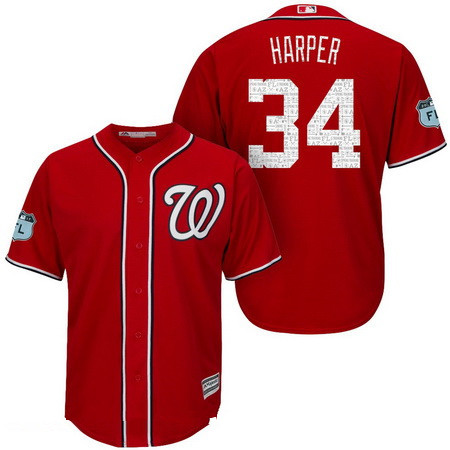 Men's Washington Nationals #34 Bryce Harper Red 2017 Spring Training Stitched MLB Majestic Cool Base Jersey
