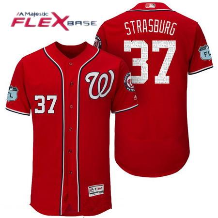 Men's Washington Nationals #37 Stephen Strasburg Red 2017 Spring Training Stitched MLB Majestic Flex Base Jersey