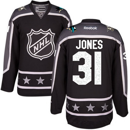 Men's Pacific Division San Jose Sharks #31 Martin Jones Reebok Black 2017 NHL All-Star Stitched Ice Hockey Jersey
