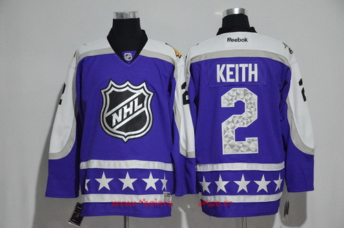 Men's Central Division Chicago Blackhawks #2 Duncan Keith Reebok Purple 2017 NHL All-Star Stitched Ice Hockey Jersey
