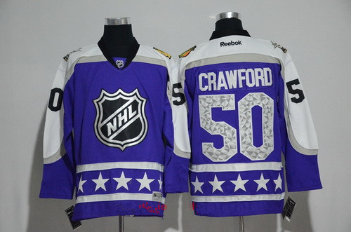 Men's Central Division Chicago Blackhawks #50 Corey Crawford Reebok Purple 2017 NHL All-Star Stitched Ice Hockey Jersey