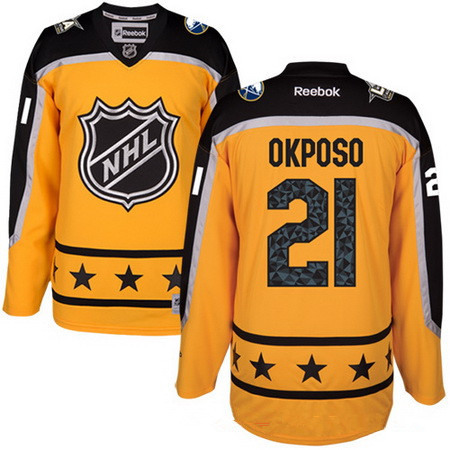 Men's Atlantic Division Buffalo Sabres #21 Kyle Okposo Reebok Yellow 2017 NHL All-Star Stitched Ice Hockey Jersey