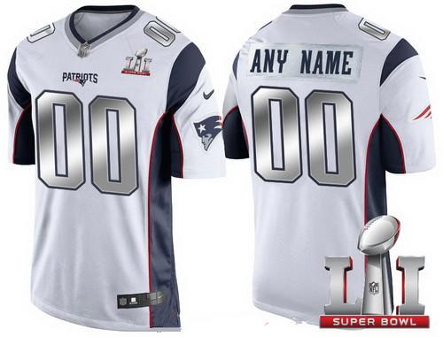 Men s New England Patriots White Steel Silver 2017 Super Bowl LI NFL Nike  Custom Limited Jersey 50d799162