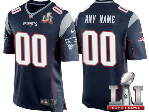 45f7a605e Youth New England Patriots Navy Blue 2017 Super Bowl LI NFL Nike Custom  Game Jersey