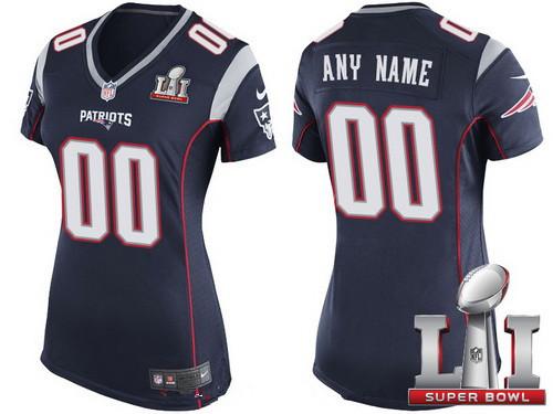 Women s New England Patriots Navy Blue 2017 Super Bowl LI NFL Nike Custom  Game Jersey ec271ff6d