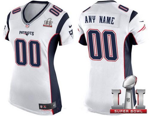 Women s New England Patriots White 2017 Super Bowl LI NFL Nike Custom Game  Jersey 1ccad1871