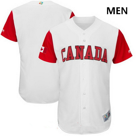 6bf68e8da ... Mens Canada Baseball Majestic White 2017 World Baseball Classic Custom  Team Jersey ...