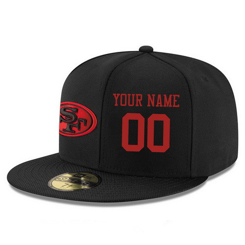 San Francisco 49ers Custom Snapback Cap NFL Player Black with Red Number Stitched Hat