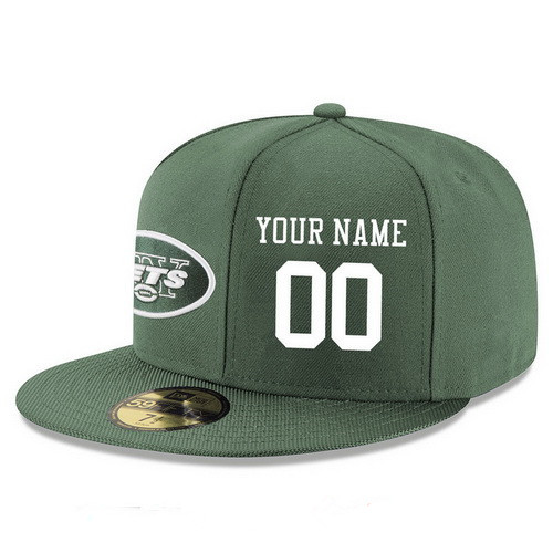 New York Jets Custom Snapback Cap NFL Player Green with White Number Stitched Hat