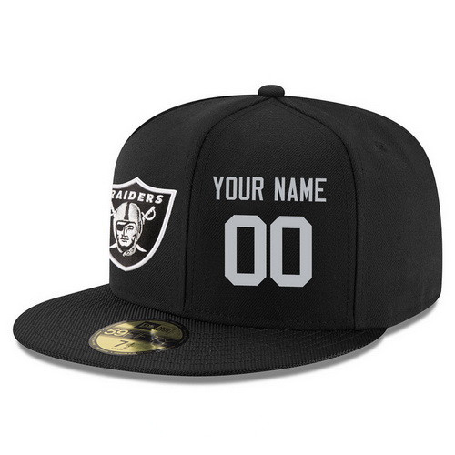 Oakland Raiders Custom Snapback Cap NFL Player Black with Silver Number Stitched Hat