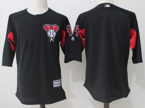 Men's Arizona Diamondbacks #44 Paul Goldschmidt Black Collection On-Field 34-Sleeve Stitched MLB Majestic Batting Practice Jersey