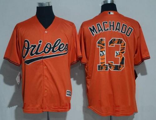 ... Jersey 2017 Mens Baltimore Mens Baltimore Orioles 13 Manny Machado  Orange Team Logo Ornamented Stitched MLB Majestic Cool Base ...