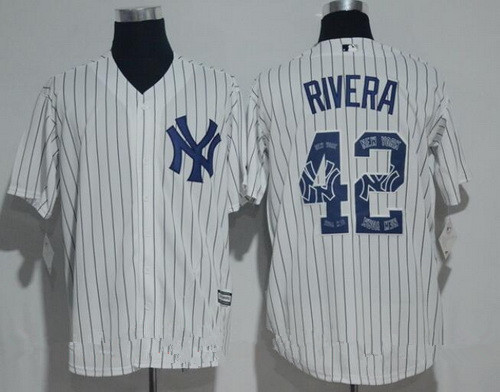 bba3dbe1bbd ... Mens New York Yankees 42 Mariano Rivera Retired White Team Logo  Ornamented Stitched MLB Majestic ...