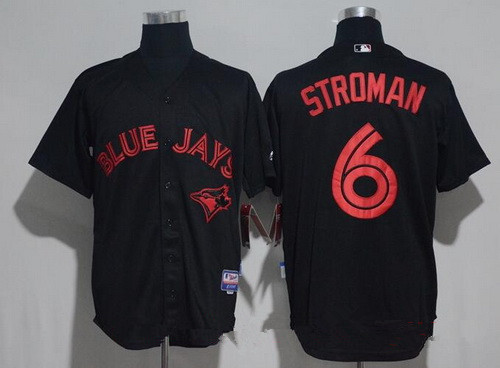 Men's Toronto Blue Jays #6 Marcus Stroman Lights Out Black Fashion Stitched MLB Majestic Cool Base Jersey