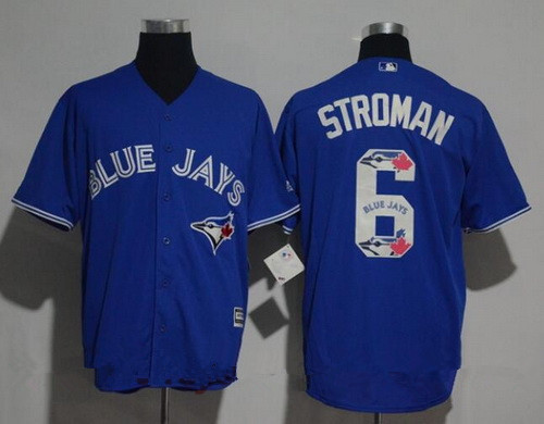 Men's Toronto Blue Jays #6 Marcus Stroman Royal Blue Team Logo Ornamented Stitched MLB Majestic Cool Base Jersey