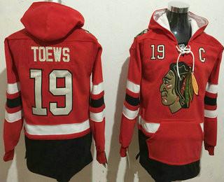 Men's Chicago Blackhawks #19 Jonathan Toews NEW Red Stitched NHL Old Tim Hockey Hoodie