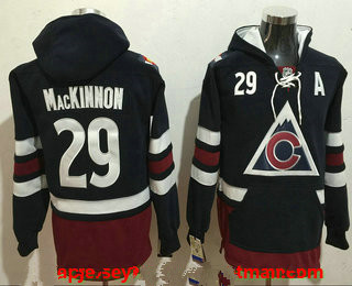 Men's Colorado Avalanche #29 Nathan MacKinnon NEW Navy Blue Stitched NHL Old Tim Hockey Hoodie