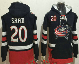 Men's Columbus Blue Jackets #20 Brandon Saad NEW Navy Blue Home Stitched NHL Old Tim Hockey Hoodie
