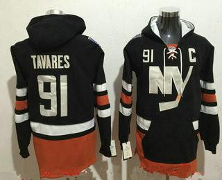 Men's New York Islanders #91 John Tavares NEW Black Stitched NHL Old Tim Hockey Hoodie