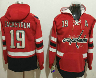 Men's Washington Capitals #19 Nicklas Backstrom NEW Red Stitched NHL Old Tim Hockey Hoodie