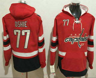 Men's Washington Capitals #77 T.J. Oshie NEW Red Stitched NHL Old Tim Hockey Hoodie