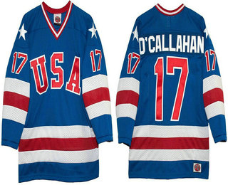 Men's 1980 Olympics USA #17 Jack O'Callahan Royal Blue Throwback Stitched Vintage Ice Hockey Jersey