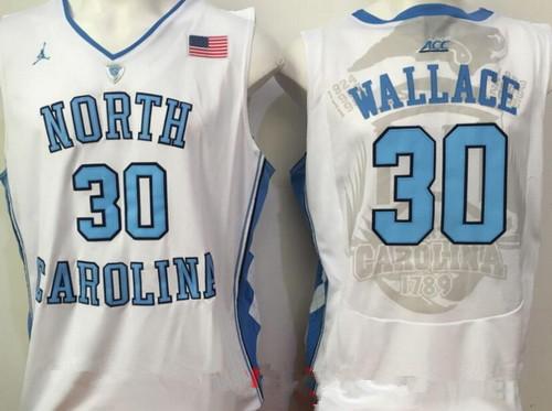 Men's North Carolina Tar Heels #30 Rasheed Wallace White College Basketball 2017 Brand Jordan Swingman Stitched NCAA Jersey