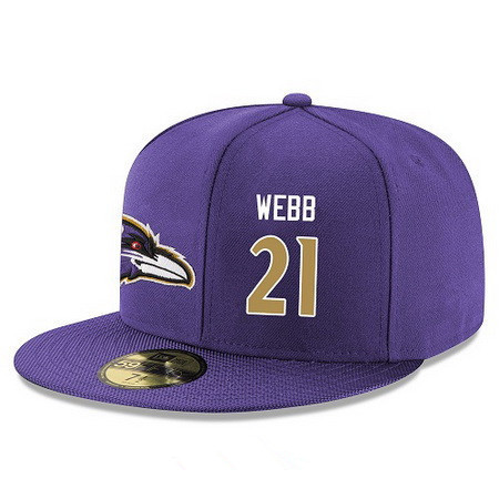ID94841 Baltimore Ravens #21 Lardarius Webb Snapback Cap NFL Player Purple with Gold Number Stitched Hat