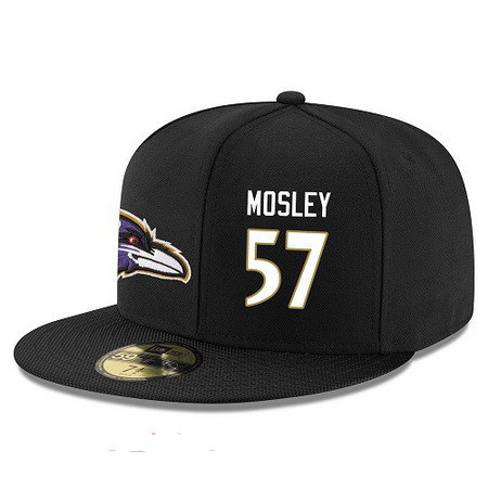 049cf15fcedf13 Baltimore Ravens #57 C.J. Mosley Snapback Cap NFL Player Black with White  Number Stitched Hat