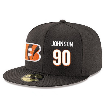 ID94923 Cincinnati Bengals #90 Michael Johnson Snapback Cap NFL Player Black with White Number Stitched Hat