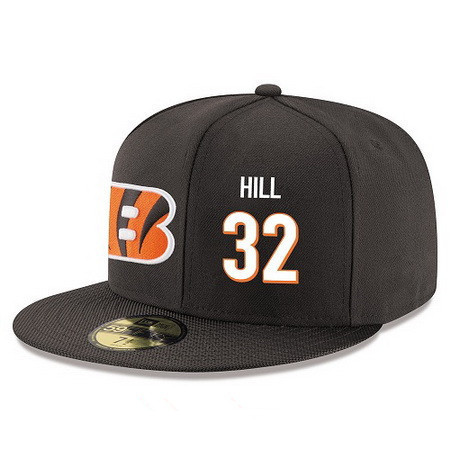 ID94899 Cincinnati Bengals #32 Jeremy Hill Snapback Cap NFL Player Black with White Number Stitched Hat