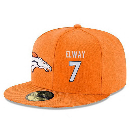 ID94966 Denver Broncos #7 John Elway Snapback Cap NFL Player Orange with White Number Stitched Hat