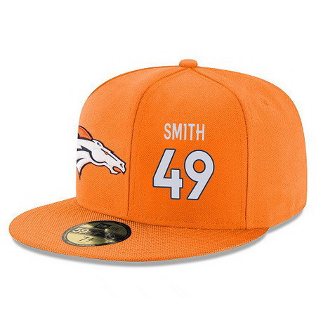 ID94959 Denver Broncos #49 Dennis Smith Snapback Cap NFL Player Orange with White Number Stitched Hat