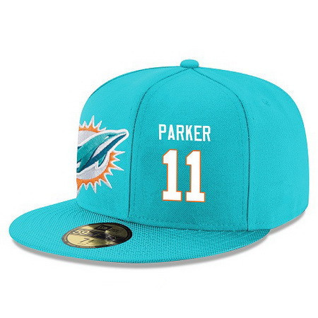 ID95143 Miami Dolphins #11 DeVante Parker Snapback Cap NFL Player Aqua Green with White Number Stitched Hat