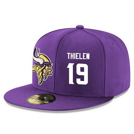 ID95162 Minnesota Vikings #19 Adam Thielen Snapback Cap NFL Player Purple with White Number Stitched Hat