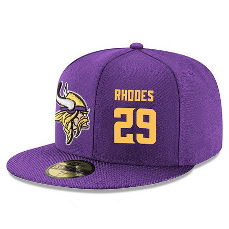 ID95161 Minnesota Vikings #29 Xavier Rhodes Snapback Cap NFL Player Purple with Gold Number Stitched Hat
