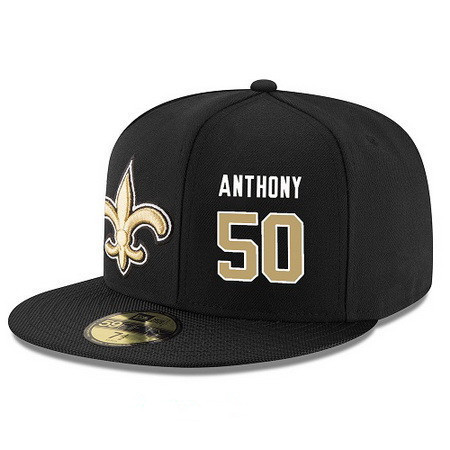 ID95219 New Orleans Saints #50 Stephone Anthony Snapback Cap NFL Player Black with Gold Number Stitched Hat