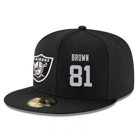 ID95275 Oakland Raiders #81 Tim Brown Snapback Cap NFL Player Black with Silver Number Stitched Hat