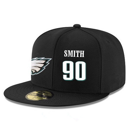 ID95311 Philadelphia Eagles #90 Marcus Smith II Snapback Cap NFL Player Black with White Number Stitched Hat