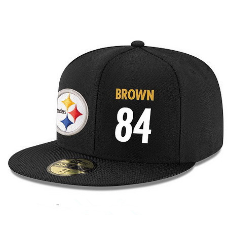 4e423725639 Pittsburgh Steelers  84 Antonio Brown Snapback Cap NFL Player Black with  White Number Stitched Hat