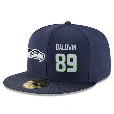 ID95420 Seattle Seahawks #89 Doug Baldwin Snapback Cap NFL Player Navy Blue with Gray Number Stitched Hat