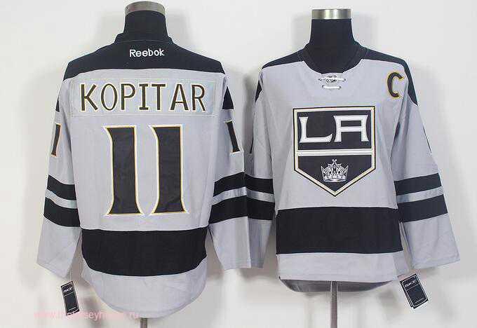 Men's Los Angeles Kings #11 Anze Kopitar Gray Alternate Stitched NHL 2016-17 Reebok Hockey Jersey